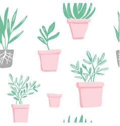 garden elements seamless pattern vector image