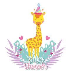 Giraffe with party hat to celebrate baby shower vector