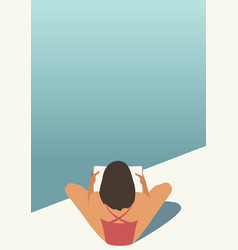 girl reading pool vector image