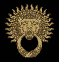 Golden lion head on black background door vector