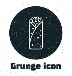 Grunge burrito icon isolated on white background vector