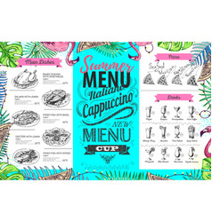 Hand drawing summer menu design with flamingo vector