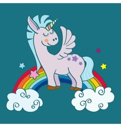 Hand drawn winged unicorn on rainbow vector