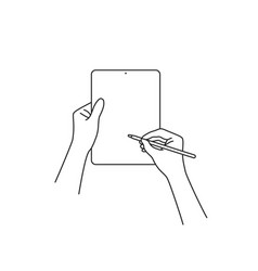 Hand draws on tablet with a pencil vector