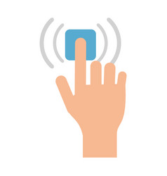 Hand touch button wifi graphic vector