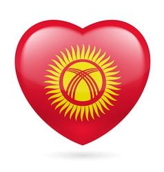 Heart icon of Kyrgyzstan vector image