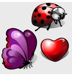 Heart purple butterfly and funny ladybug vector