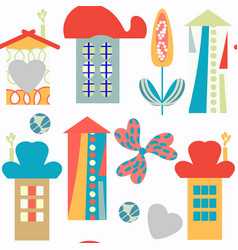 houses seamless funny pattern it is located in vector image