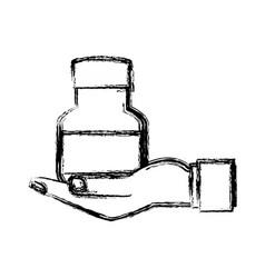 human hand holding bottle medicine pet care sketch vector image