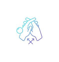 Interlink fingers gradient linear icon vector