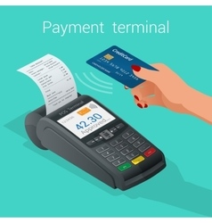 Isometric Pos terminal confirms the payment by vector image