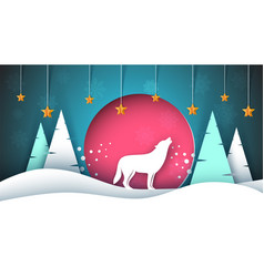 Lone wolf howls to the moon merry christmas vector