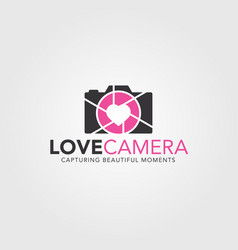 Love camera - photography logo template vector