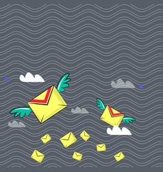 Many colorful airmail flying envelopes and two of vector