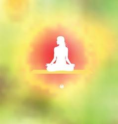 Meditation pose Blurred floral background vector image
