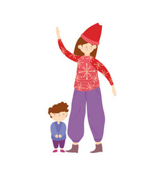 merry christmas mom and son with ugly sweater vector image