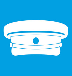 Military hat icon white vector