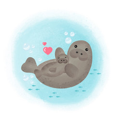 mom and manatee mothers day card vector image