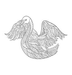 Monochrome hand drawn zentagle of fox Coloring vector