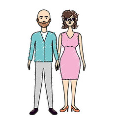 Nice couple with hairstyle and elegant wear vector