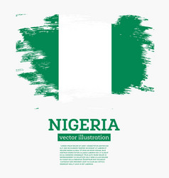 Nigeria flag with brush strokes vector