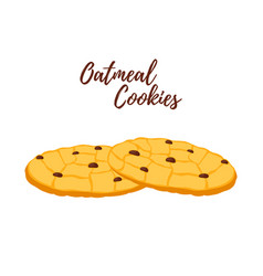 Oatmeal cookie oat breakfasttasty biscuit vector