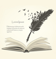 Old feather with flying birds and open book vector