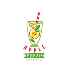 original label with halves of apple and vector image