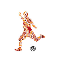 ornaments soccer player kicking ball vector image