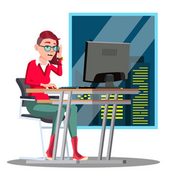 overwork manager working at the table on vector image