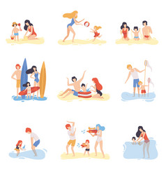parents and their children playing swimming and vector image