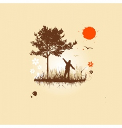 people and nature vector image