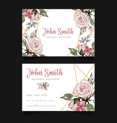 pink floral visiting card vector image