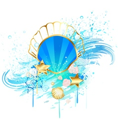 precious blue seashell vector image