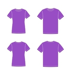 Purple short sleeve t-shirts templates vector
