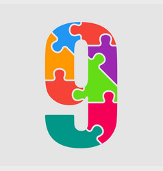 puzzle jigsaw figure or number nine vector image