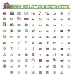 Real estate and home icon set vector