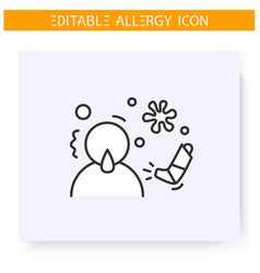 Respiratory allergy line icon editable vector