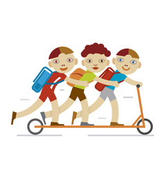 school boys on a scooter vector image