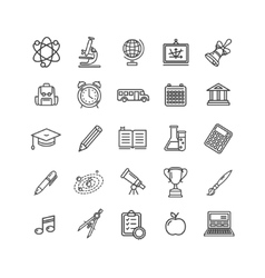 School Outline Icon Set vector image