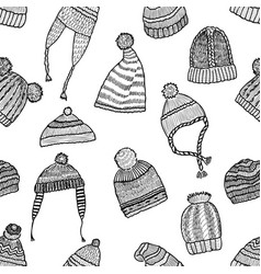 seamless background of the knitted caps sketches vector image