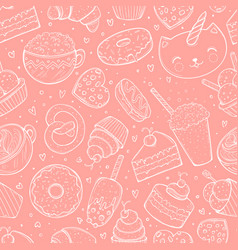 Seamless pattern sweets doodle sketch vector