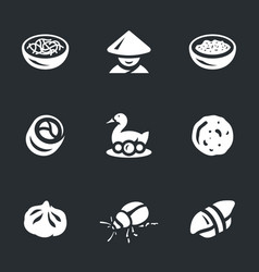 Set asian food icons vector