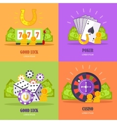 Set of gambling conceptual banners vector