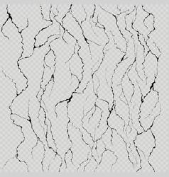 Set seven realistic wall cracks easily vector