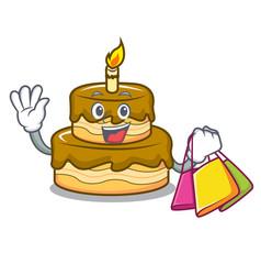 Shopping birthday cake character cartoon vector
