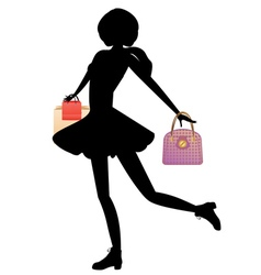 Shopping Girl with Bags Silhouette vector