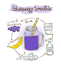 Sketch Bluberry smoothie recipe vector