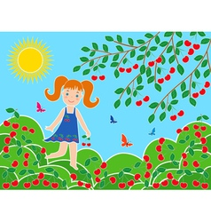 Small girl near cherry tree in sunny summer day vector image
