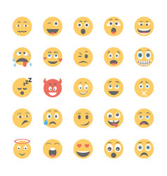 smiley flat icons set 2 vector image
